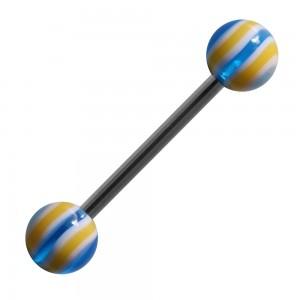 Piercing Langue Acrylique Bonbon Jaune / Bleu