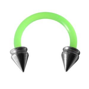 Piercing Tragus / Oreille Flexible Vert Piques Creux Acier 316L