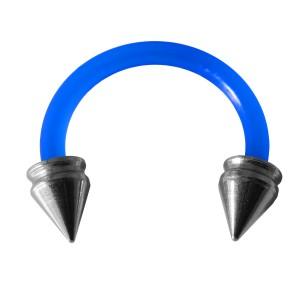 Piercing Tragus / Oreille Flexible Bleu Foncé Piques Creux Acier 316L