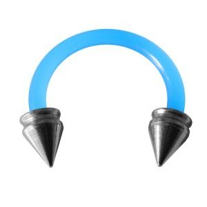 Piercing Tragus / Oreille Flexible Bleu Clair Piques Creux Acier 316L