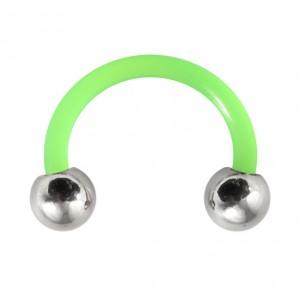 Green Flexi Tragus/Earlob Ring w/ 316L Steel Balls
