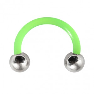 Piercing Tragus / Ohr Flexibel Grün Kugeln Stahl 316L