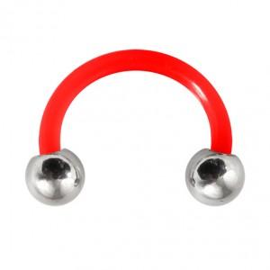 Piercing Tragus / Oreille Flexible Rouge Boules Acier 316L