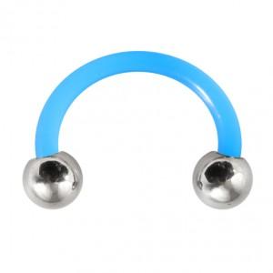 Piercing Tragus / Oreille Flexible Bleu Clair Boules Acier 316L