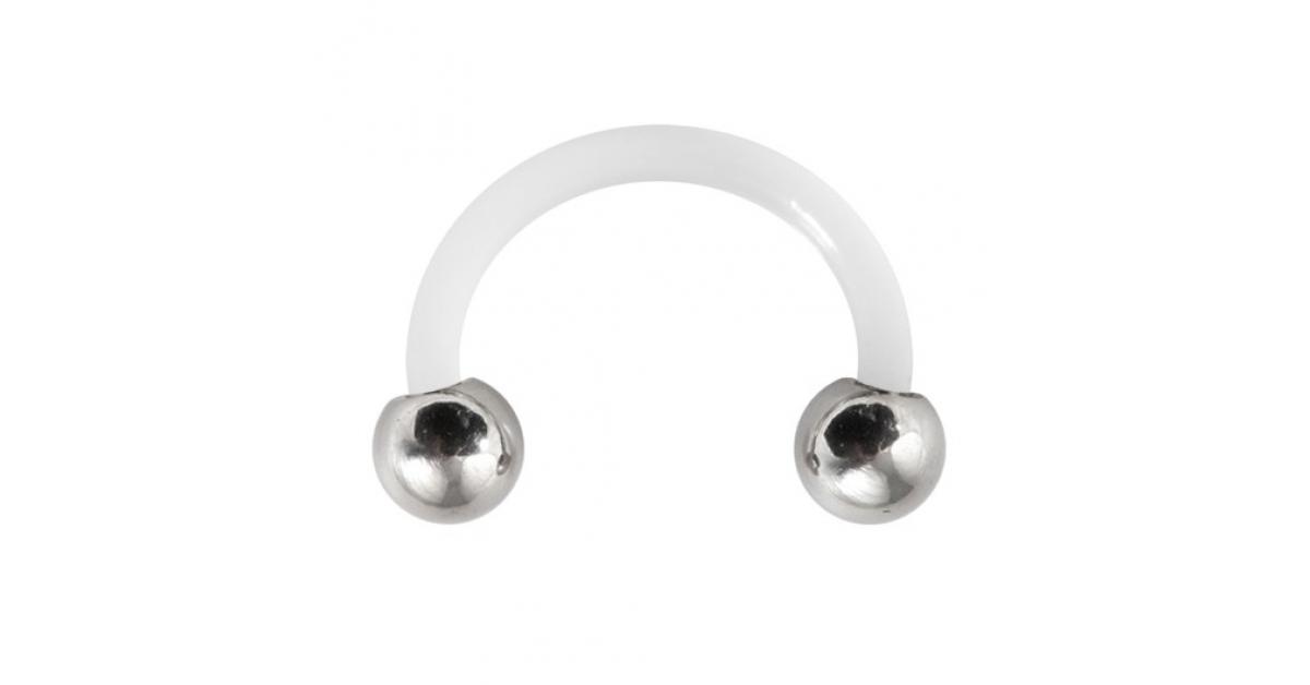 piercing tragus oreille flexible blanc boules acier 316l. Black Bedroom Furniture Sets. Home Design Ideas