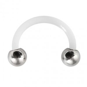 Piercing Tragus / Oreille Flexible Blanc Boules Acier 316L