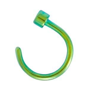 Piercing Nez Anneau Ouvert Hood Acier 316L Anodisé Vert Cylindre