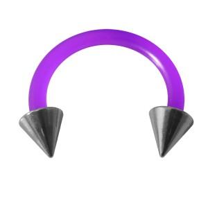 Purple Flexi Tragus/Earlob Ring w/ Two 316L Steel Spikes