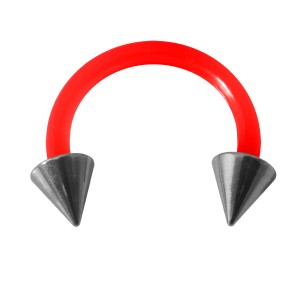 Piercing Tragus / Oreja Flexible Rojo Dos Spikes Acero 316L