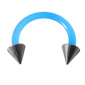 Piercing Tragus / Oreille Flexible Bleu Clair Deux Piques Acier 316L