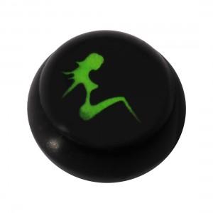 Boule pour Piercing Langue / Nombril Acrylique Noire Logo UV Femme Assise
