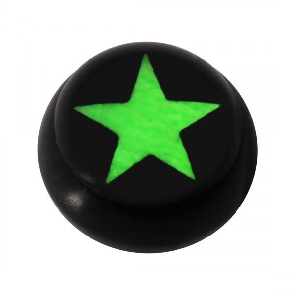 Bola para Piercing Lengua / Ombligo Acrílico Negro Logo UV Estrella