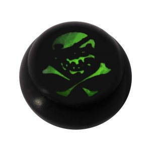 Boule pour Piercing Langue / Nombril Acrylique Noire Logo UV Pirate