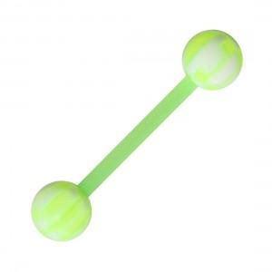 Green/White Checkered Bioflex Tongue Bar Ring