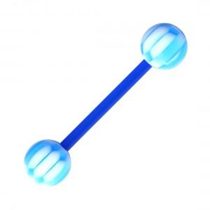 Piercing Langue Bioflex Damier Bleu Foncé / Blanc