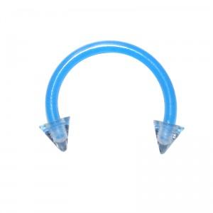 Light Blue Bioplast Tragus / Septum Ring w/ Spikes
