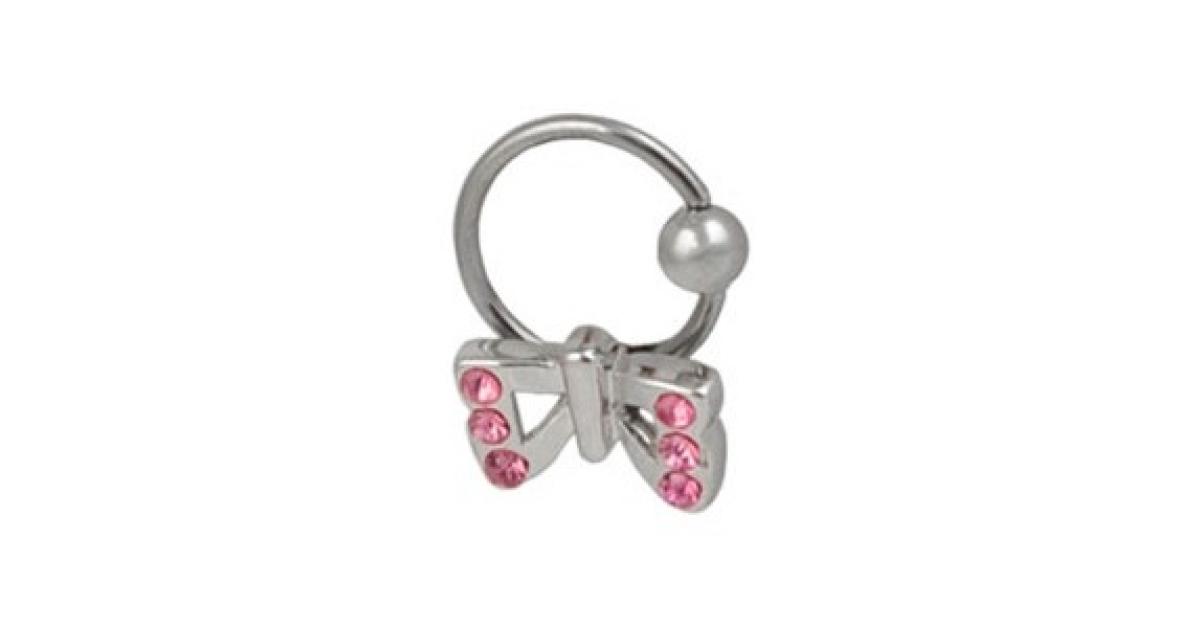 piercing anneau labret oreille cbr acier 316l avec noeud papillon 6 strass roses coulissant. Black Bedroom Furniture Sets. Home Design Ideas