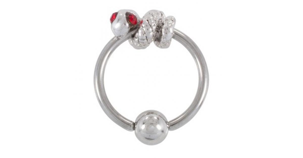 piercing anneau labret oreille cbr acier 316l avec serpent yeux rouges coulissant. Black Bedroom Furniture Sets. Home Design Ideas
