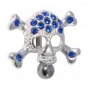 Dark Blue Reverse 15 Strass Skull 925 Silver & 316L Steel Belly Bar Navel Button Ring