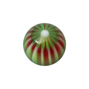 Boule Acrylique UV Fleur 32 Faces Violet / Vert pour Piercing Lèvre