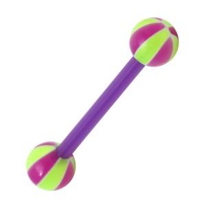 Piercing Langue Bioflex Ballon Basket 2 Violet / Vert