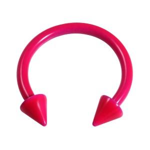Pink Neon 316L Steel Circular Barbell w/ Spikes