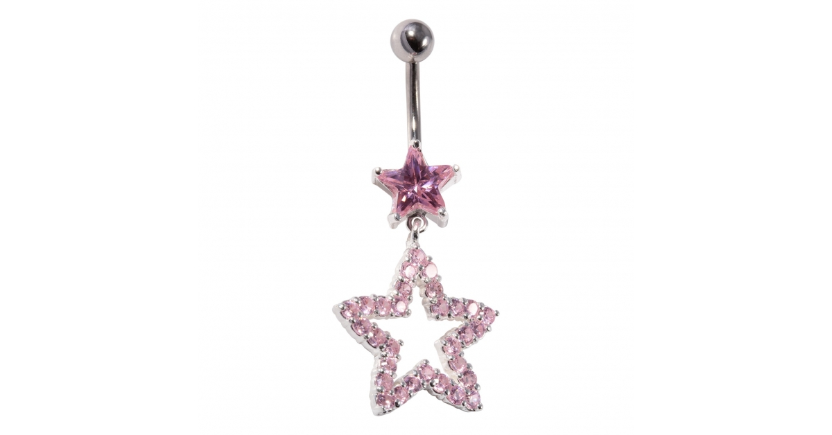 925 Silver 316l Steel Belly Bar Navel Ring Pebble Stone Star Dangling Crystal Pink Hollow Star