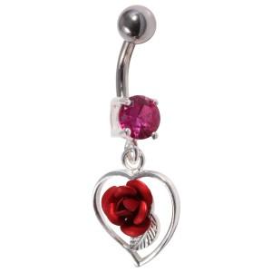 Piercing Nombril Argent 925 Strass & Rose Rouge Pendante