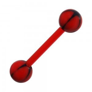 Black/Red Star Bioflex Tongue Bar Ring with Red Bar