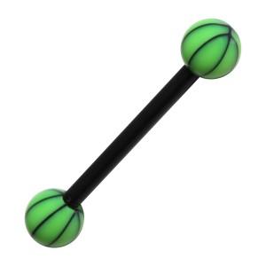 Piercing Langue Bioflex Basket Ball Noir / Vert Clair