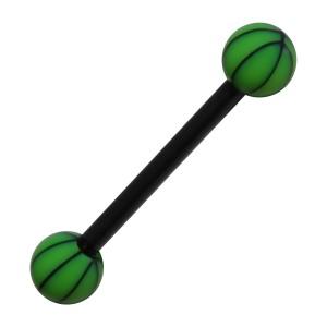 Piercing Langue Bioflex Basket Ball Noir / Vert Foncé