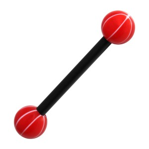 Piercing Langue Bioflex Basket Ball Blanc / Rouge