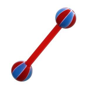 Piercing Langue Bioflex Ballon Basket 2 Rouge / Bleu