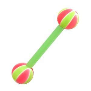 Piercing Lengua Bioflex Baloncesto 2 Verde / Rosa