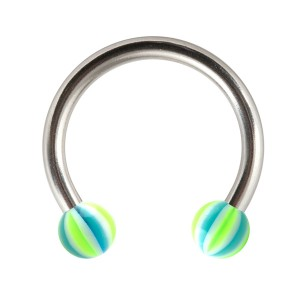 Green/Blue Acrylic Beach-Ball Tragus/Lip/Labret Circular Ring