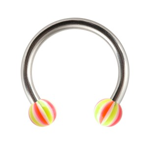 Piercing Fer Cheval Tragus / Labret / Lèvre Acrylique Beach-Ball Rose / Vert