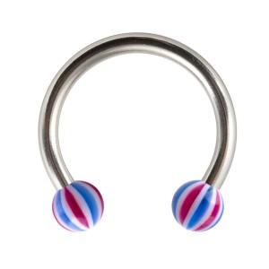 Piercing Fer Cheval Tragus / Labret / Lèvre Acrylique Beach-Ball Bleu / Rouge