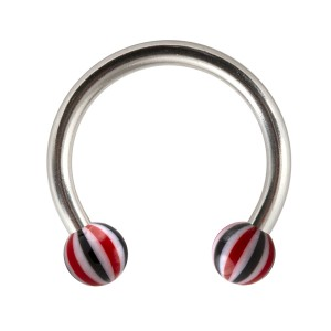 Red/Black Acrylic Beach-Ball Tragus/Lip/Labret Circular Ring