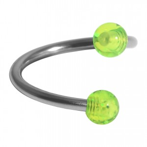 Helix Piercing Twisted Ring w/ Two Acrylic Glittering Green Balls