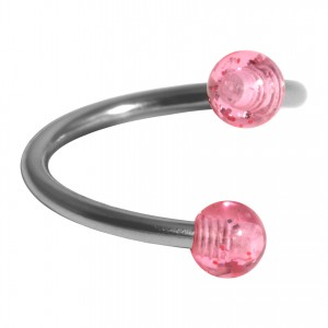 Helix Piercing Twisted Ring w/ Two Acrylic Glittering Pink Balls