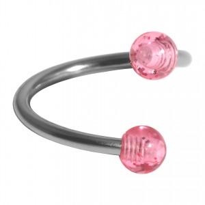 Spirale Piercing Hélix Acrylique Scintillant Deux Boules Roses