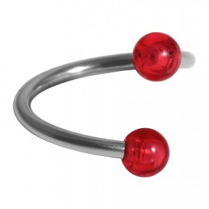 Helix Piercing Twisted Ring w/ Two Acrylic Glittering Red Balls