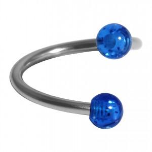Helix Piercing Twisted Ring w/ Two Acrylic Glittering Dark Blue Balls