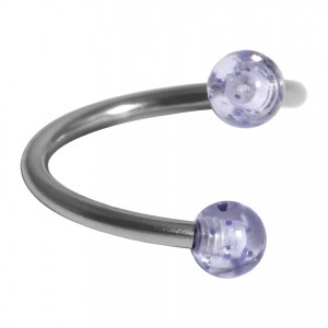 Helix Piercing Twisted Ring w/ Two Acrylic Glittering Light Blue Balls