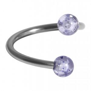 Spirale Piercing Hélix Acrylique Scintillant Deux Boules Bleues Clair