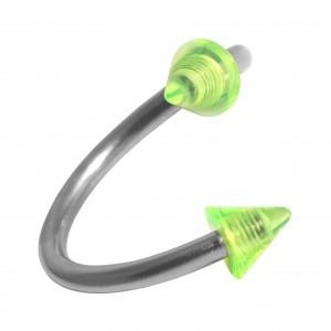 Spirale Piercing Hélix Acrylique Transparent Deux Piques Verts