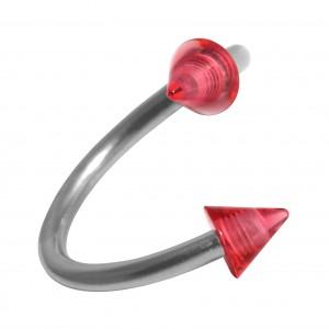 Spirale Piercing Hélix Acrylique Transparent Deux Piques Rouges
