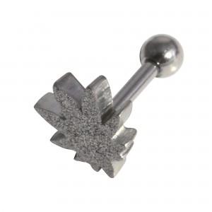 Glittering Cannabis Leaf 316L Steel Tragus/Helix Piercing Jewel Bar w/ Silver PVD Anodizing