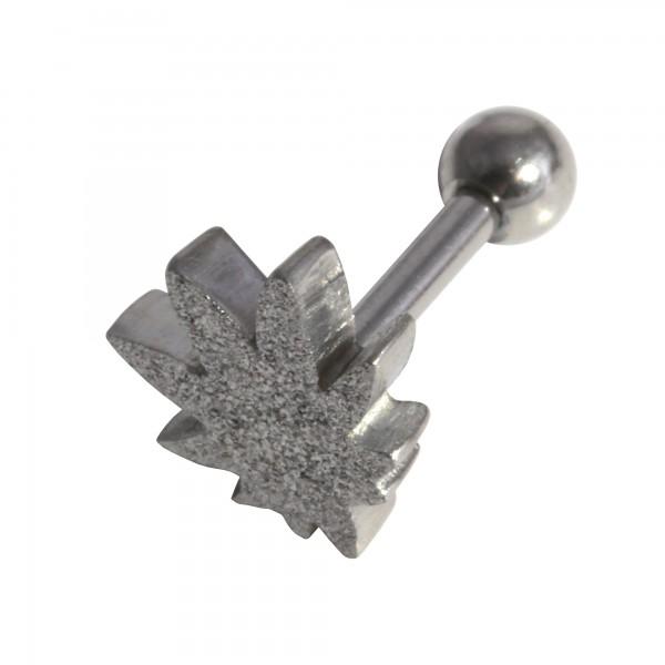 bijou tragus h lix piercing acier 316l pvd anodis argent brillant feuille cannabis. Black Bedroom Furniture Sets. Home Design Ideas