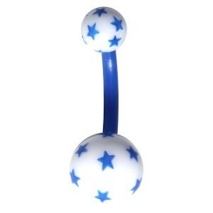 Fancy Bioflex/Bioplast Belly Bar Navel Button Ring with Blue/White Multiple Stars